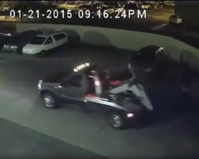 Caught On Camera: Tow Truck Steals From Car Lot