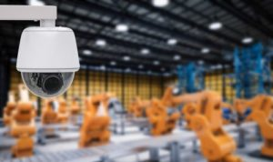 security camera watching a manufacturing plant