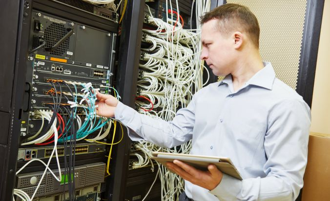 IT man working on a network