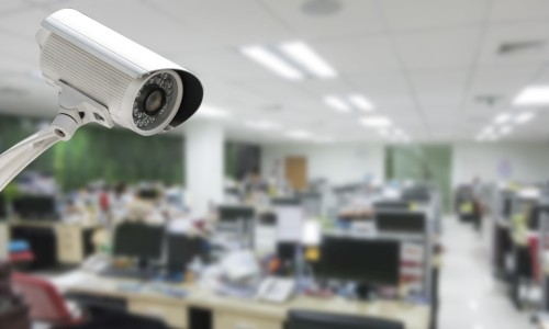 security camera in an office building