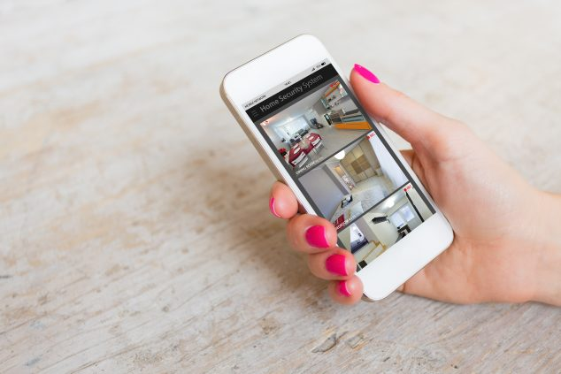Viewing security cameras remotely on a smartphone
