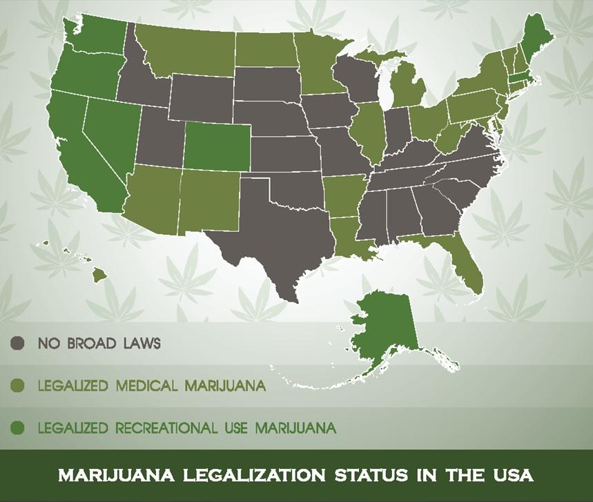 Map of Marijuana Legalization in the U.S.