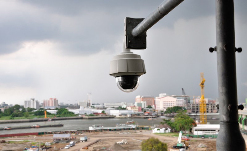Pan Tilt Zoom Surveillance camera watching a construction site