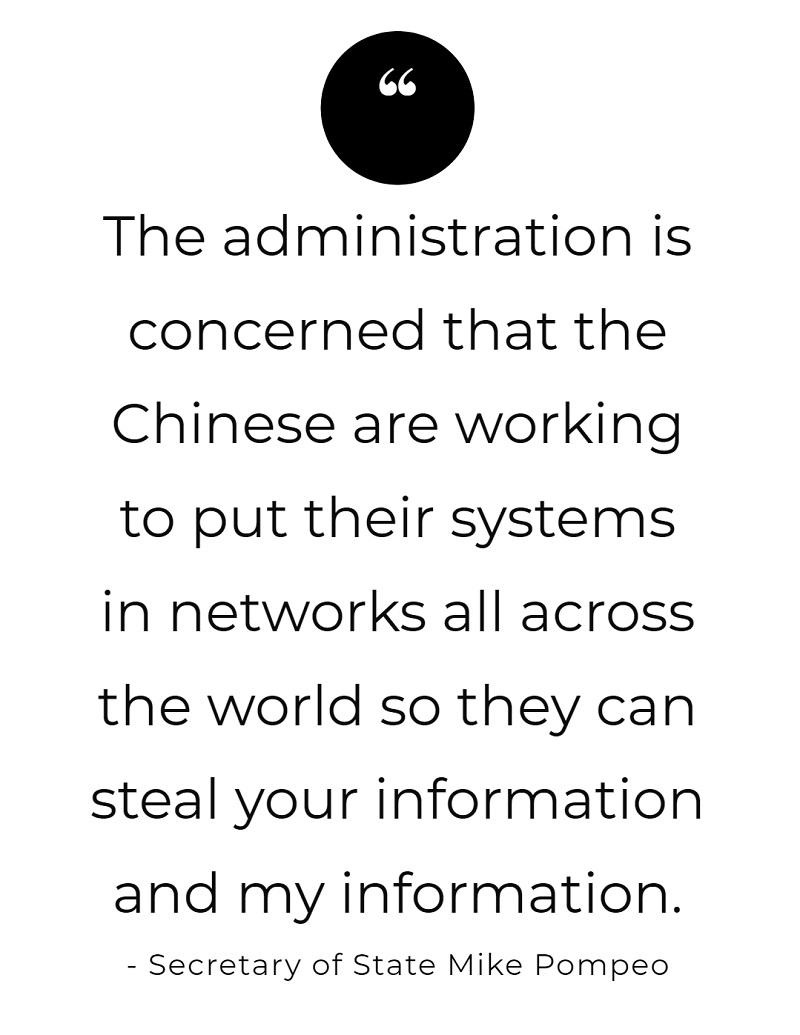 """that the Chinese are working to put their systems in networks all across the world so they can steal your information and my information."""