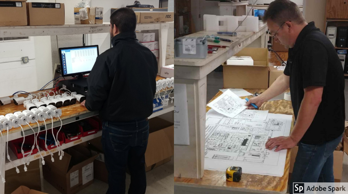 Our technicians testing cameras and looking at a map of a customer's facility